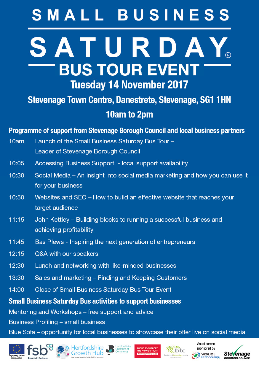 Small Business Saturday Stevenage Agenda
